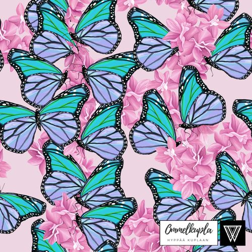 Butterfly paradise, soft pink